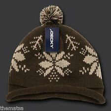 BROWN SNOWFLAKE ROLL UP POM POM BEANIE  HAT CAP