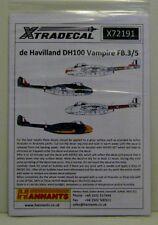 Xtradecal 1/72 X72191 de havilland vampire FB.3/5 in raf service decal set