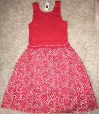 NWT Gap Kids Surf Coral Pink Floral Ribbed Tank Dress L 12 Yrs
