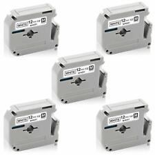 5 PK M-K231 Black on White Label Tape For Brother Printer PT-55BM 8m 12mm PT65