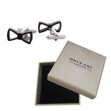 Mens Black Bow Tie Cufflinks & Gift Box By Onyx Art