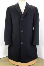 HUGO BOSS BLACK HEAVY WOOL TWILL BUTTON FRONT MID LENGTH LINED OVERCOAT 52 42R