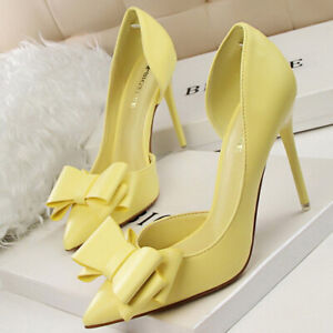 Women Pointed Toe Sweet Bow Stilettos High Heeled Wedding Party Pumps Shoes