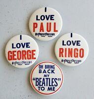 "Vintage Beatles 2"" Inch Pin Back Buttons ""I LOVE.."" & ""Bring Back"" USA Memorabil"