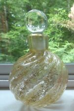 Murano Archimede Seguso Gold Flecked Swirl Rib Glass Perfume Bottle with Stopper