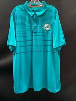 MIAMI DOLPHINS TEAM ISSUED TEAL DRI-FIT NIKE COACHES SIDELINE POLO  SZ-XXL