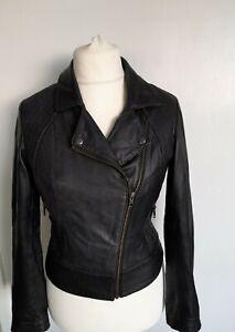 OASIS - Biker Style REAL LEATHER Jacket Soft Black Size S Slim fit size 10
