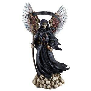 "Steampunk Grim Reaper Gothic Figurine Statue On Skulls w/Scythe & Hourglass 12""H"