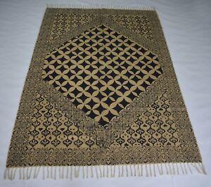 Jute Cotton Block Printed Area Rug Hand Woven Decorative 4x6 Feet Rug DN-1336