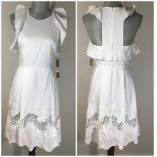 $140 RACHEL ROY Size 0 White Ruffle & Lace Dress Sleeveless POCKETS Pleated NEW