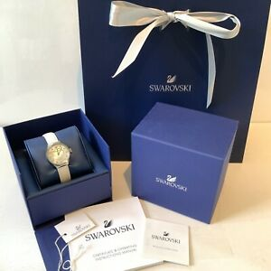 Swarovski Crystals Watch White Leather Strap Dreamy Authentic Boxed