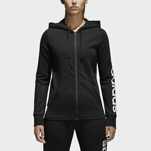 adidas Women's Sweater Essentials Full-Zip Up Ribbed Hoodie Sweatshirt Black XXS
