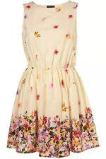Topshop Cream Floral Border Flower 50s Vtg Summer Skater Sun Tea Dress 6 34 2 XS