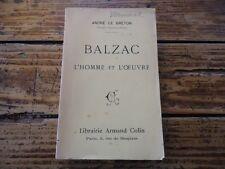 RARE LITTERATURE - BALZAC L'HOMME ET L'OEUVRE - ANDRE LE BRETON -GASTON BOISSIER