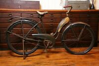 "Antique Colson Scout Prewar Skip Tooth Tank Bicycle 26"" Balloon Tire drop stand"