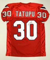 Mosi Tatupu Autographed Red Pro Style Jersey- JSA Authenticated