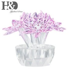Crystal Flower Figurines Pink Lotus Ornaments Paperweight Wedding Christmas Gift