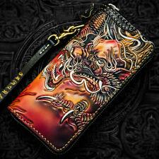 Ручной работы из натуральной кожи сумка-клатч сумочка с драконом дизайн