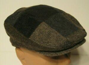 STETSON brown PATCHWORK WOOL BLEND DRIVING Cap Hat SMALL/MEDIUM