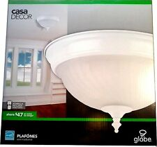 "HOME CASA DECOR GLOBE Ceiling Light Fixture Frosted Glass Shade 11"" Flush Mount"