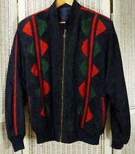 Vintage Suede Colour Block Bomber Jacket 53″ Unisex Men's L Women's XL 53″ Coat
