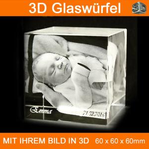 C60 Glas 3D Foto im Glas Gravur Geschenkidee 2D in 3D Weihnachten Tier Geschenke