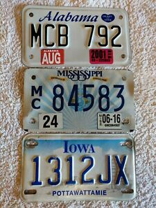 Set 3 Mississippi Iowa Alabama Motorcycle Genuine Pre-Owned USA License Plates