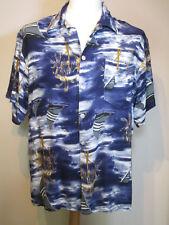 Mens Vintage Blue Sailing Patterned Hawaiian Shirt - Size XXL?