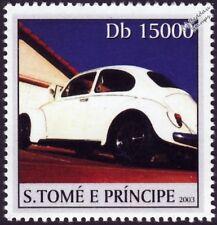 VOLKSWAGEN VW Beetle Käfer Car Stamp #2 White (2003 St Thomas & Prince Islands)