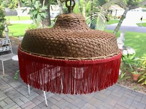 Retro 1950s Chinaman's Hat Hanging Lamp Bohemian Red Fringe Basket Weave