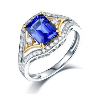 Real 14Kt White & Yellow Gold Tanzanite Engagement Wedding Gemstone Ring
