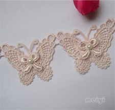 1 yd Vintage Butterfly Bow Pearl Lace Trim Ribbon Wedding Applique Sewing Craft