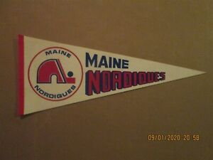 NAHL Maine Nordiques Vintage Defunct Circa 1973-74 Team Logo Hockey Pennant