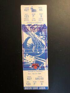 """KNICKS vs. CHICAGO"" 2/20/1994 .TICKET-STUB Seat 6 Madison Square"