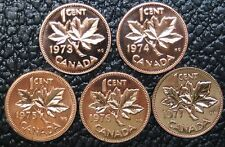 CANADIAN GEM 1 CENT PENNIES - LOT OF 5 - 1973-1977 - Pulled from PL Sets - NCC