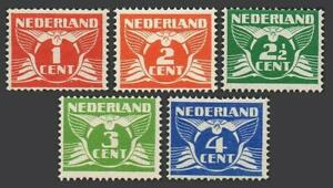 Netherlands 142-146, MNH. Michel 146A-150A. Definitive 1924, without wmk. Cull.