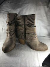 Jellypop Ankle Booties Blake Sand Distressed Bow Zipper Chain Women's Sz 7.5 EUC