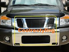 For 2008 09 10 11 12 13 14 Nissan Titan  Black Billet Grille Grill Combo Inserts