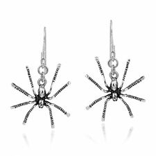 Edgy Hanging Spider Sterling Silver Dangle Earrings