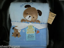 CARTERS BABY BLANKET PUPPY DOG DADDY'S CHAMP BLUE FLEECE NEW BOY CHILD OF MINE
