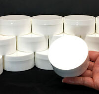2 White Plastic Cosmetic Containers Low Profile Wide Mouth Jars w/Lid 2 oz #9332