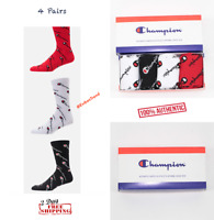4 pairs champion all over print crew socks for men women red black comes w/ box