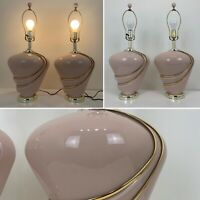 "Vintage 80's Pink Gold Lamp Pair 27"" 1980's  Glass"