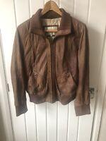 LAKELAND Biker/Bomber Aviator REAL LEATHER Jacket Dark Tan Butter Soft Size 14