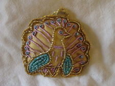 LAVENDER PEACOCK SHAPED WALL HANGING OR CHRISTMAS DECORATION HANDMADE IN INDIA