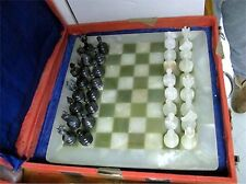 """CHESS SET HAND CARVED PAKISTAN ONYX 3"""" PIECES 15"""" ONYX BOARD d"""