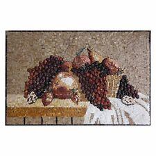 Expressive Dark Basket of Grapes Tablet Marble Stone Fine Vivid Mosaic Wall Art,