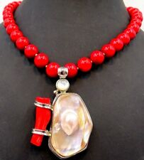 Impressively stunning Ladies unique RED CORAL and PEARL Silver Necklace