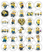 MINIONS EDIBLE WAFER CUPCAKE FAIRY CAKE TOPPERS DECORATIONS x 30