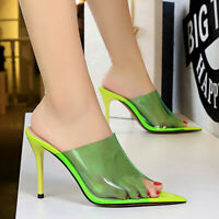 Women Slippers Mules Slip on Stiletto High Heel Open Toe Summer Sandals Shoes